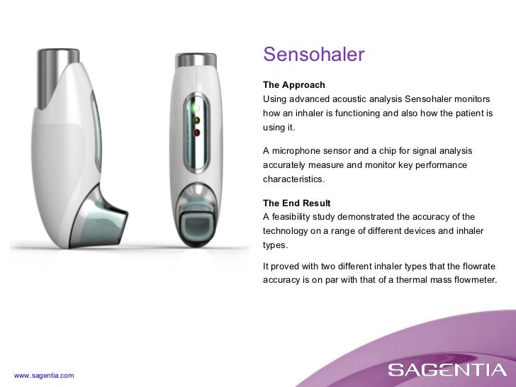 The Approach Using advanced acoustic analysis Sensohaler monitors how an inhaler is functioning and also how the patient i...