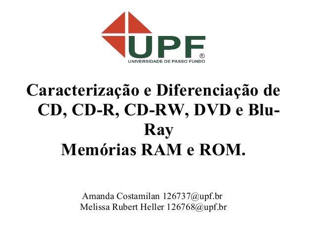 Caracterização e Diferenciação de CD, CD-R, CD-RW, DVD e Blu-               Ray    Memórias RAM e ROM.      Amanda Costami...