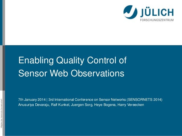 Enabling Quality Control of SensorWeb Observations