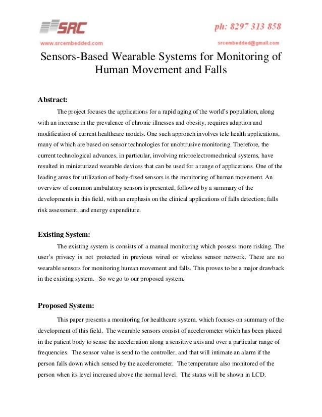 Sensors based wearable systems for monitoring of human movement and falls