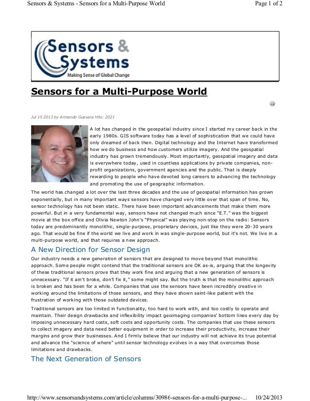 Sensors & Systems - Sensors for a Multi-Purpose World  Page 1 of 2  Sensors for a Multi-Purpose World Jul 15 2013 by Arman...