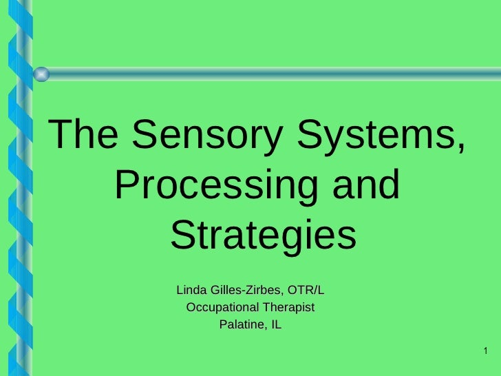 Linda Gilles-Zirbes, OTR/L Occupational Therapist Palatine, IL The Sensory Systems,  Processing and  Strategies
