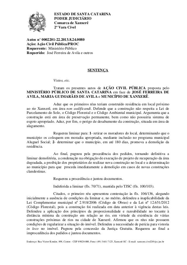 ESTADO DE SANTA CATARINA PODER JUDICIÁRIO Comarca de Xanxerê 2ª Vara Cível Endereço: Rua Victor Konder, 898, Centro - CEP ...