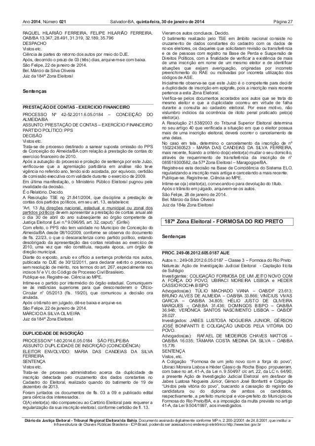 Ano 2014, Número 021  Salvador-BA, quinta-feira, 30 de janeiro de 2014  RAQUEL HILARIÃO FERREIRA, FELIPE HILARIÃO FERREIRA...