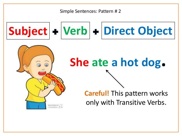 Subject verb object worksheets