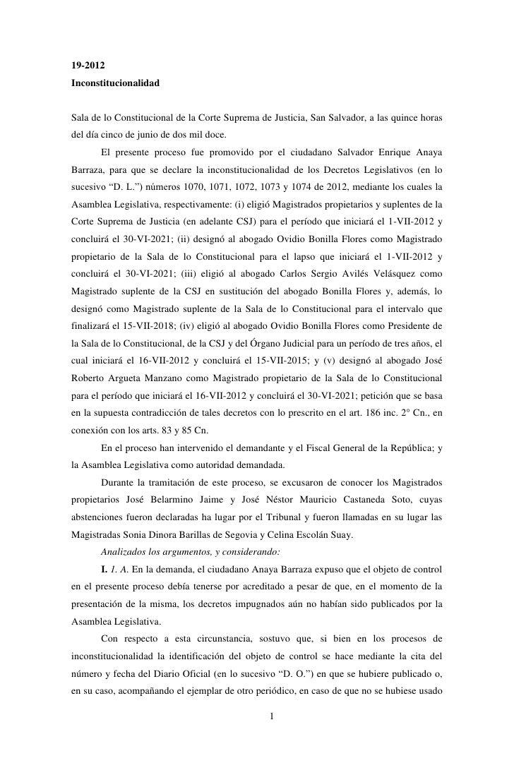 19-2012InconstitucionalidadSala de lo Constitucional de la Corte Suprema de Justicia, San Salvador, a las quince horasdel ...