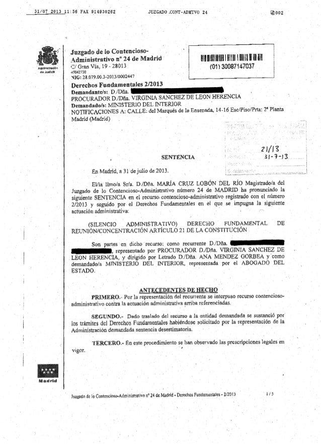 3ª Sentencia LegalSol vs. Cifuentes 31/7/2013 ->  Juzgado 24. Vulneracion Derecho de Reunión
