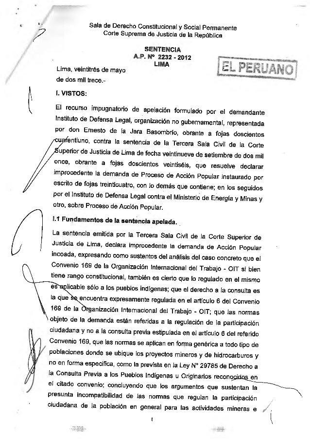 Consulta Previa y Participacion Sentencia 2232 2012 Lima Peru