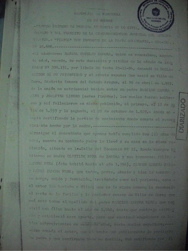 Sentencia de declaración de paternidad de rafael cecilio zamora linero