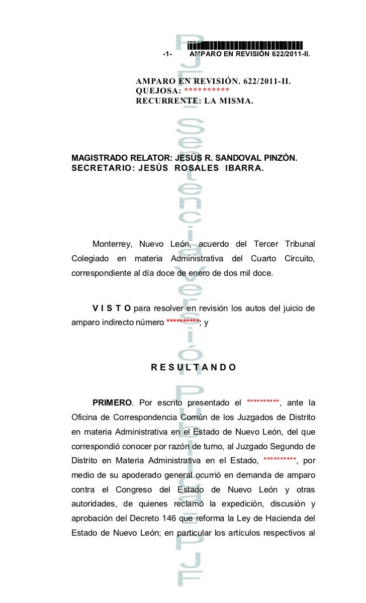 Sentencia de Amparo a Pepsico por Tenencia NL 622 2011
