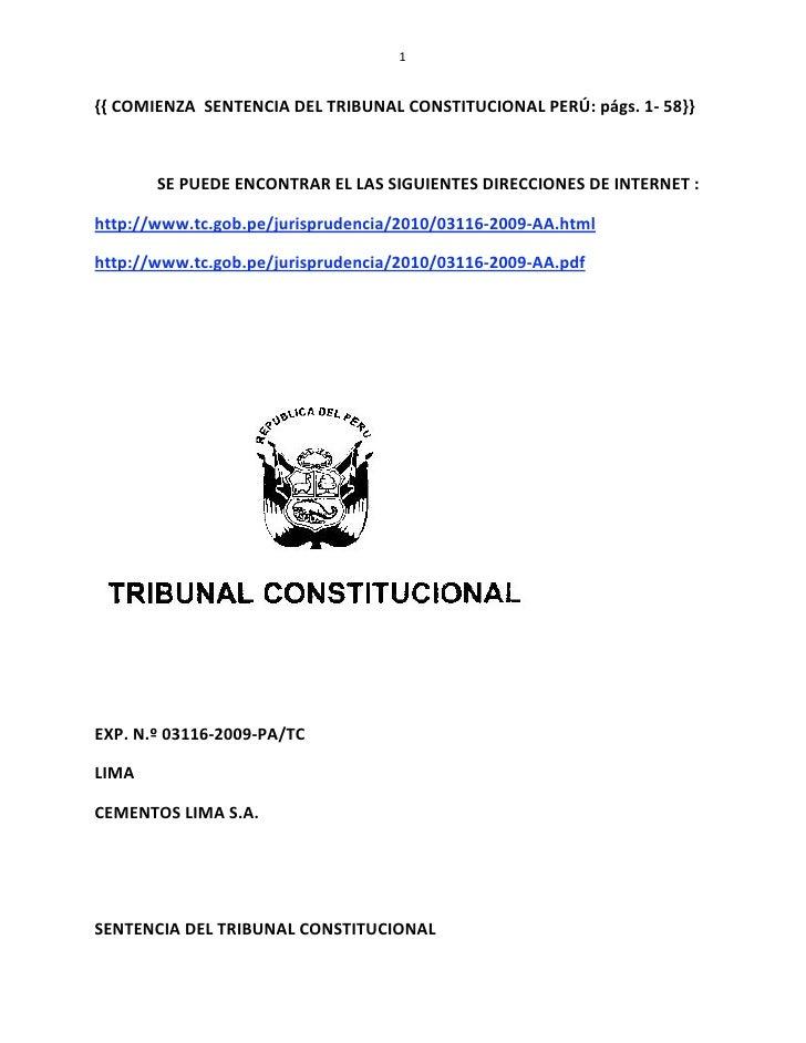 1   {{COMIENZASENTENCIADELTRIBUNALCONSTITUCIONALPERÚ:págs.1‐58}}    SEPUEDEENCONTRARELLAS...