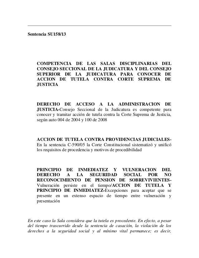 Sentencia SU158/13  COMPETENCIA DE LAS SALAS DISCIPLINARIAS DEL CONSEJO SECCIONAL DE LA JUDICATURA Y DEL CONSEJO SUPERIOR ...