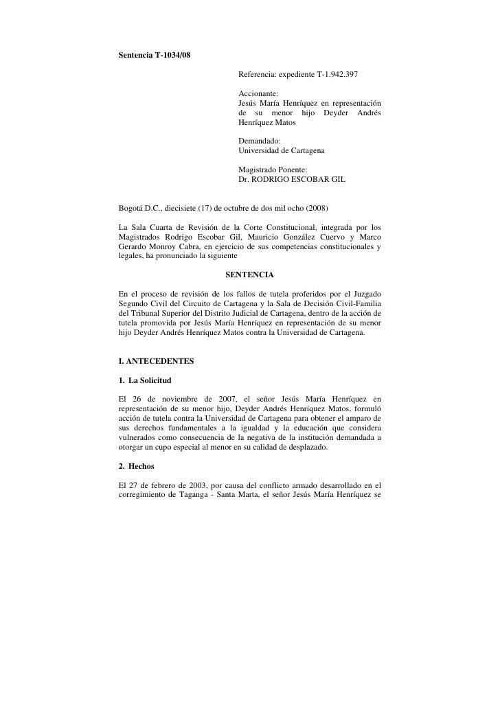 Sentencia T-1034/08                                    Referencia: expediente T-1.942.397                                 ...