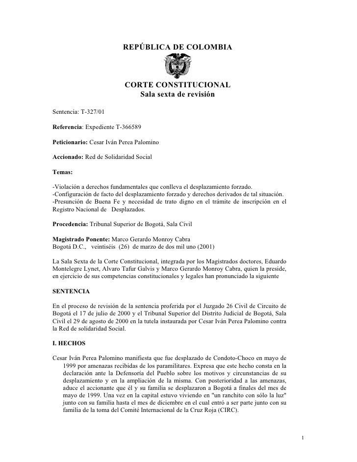 REPÚBLICA DE COLOMBIA                            CORTE CONSTITUCIONAL                               Sala sexta de revisión...