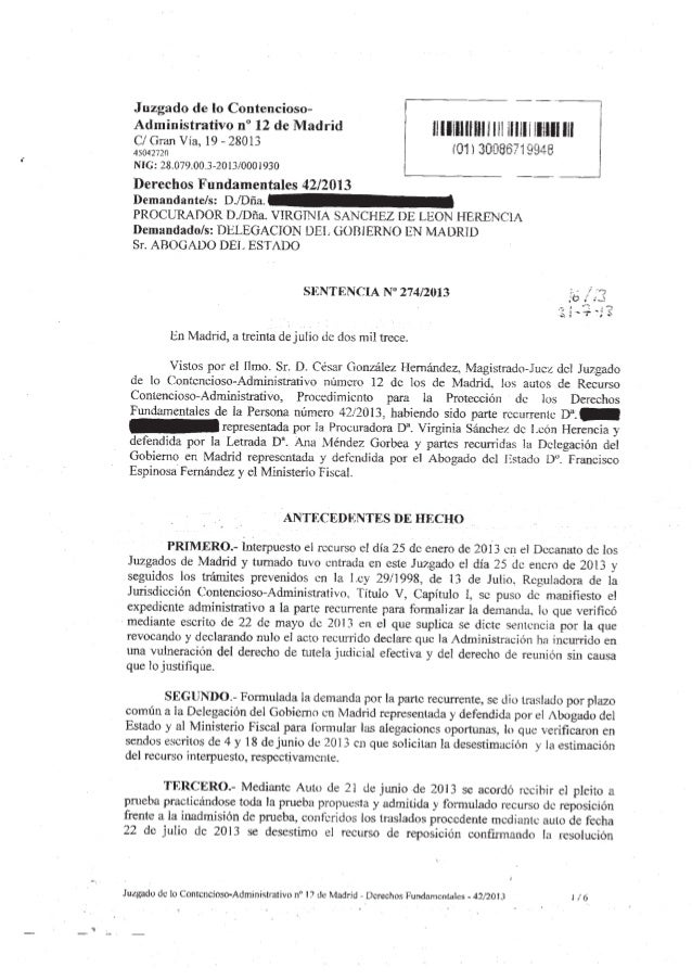 2ª Sentencia LegalSol vs. Cifuentes 30/7/2013 -> Juzgado 12. Vulneracion Derechos Fundamentales - decrecho de reunión