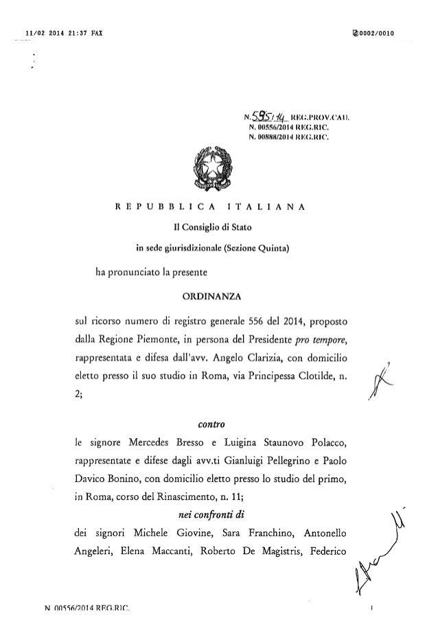 L'Ordinanza del Consiglio di Stato che annulla le elezioni 2010 del Piemonte