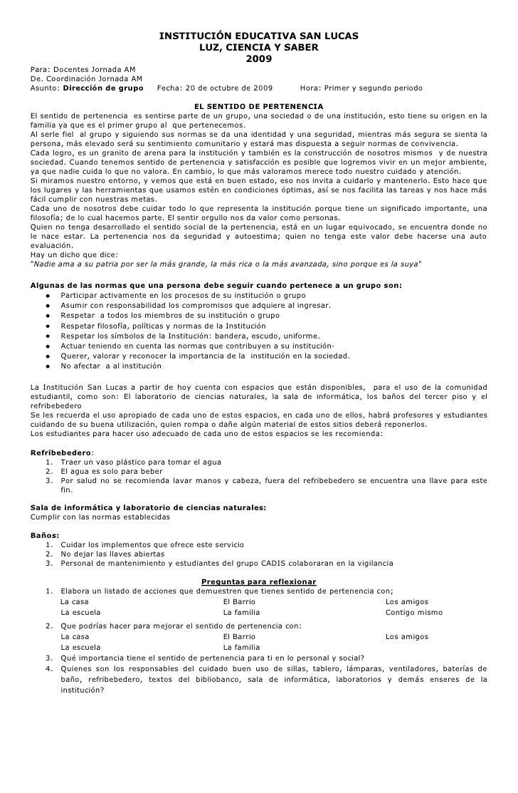 INSTITUCIÓN EDUCATIVA SAN LUCAS<br />LUZ, CIENCIA Y SABER<br />2009<br />Para: Docentes Jornada AM<br />De. Coordinación J...