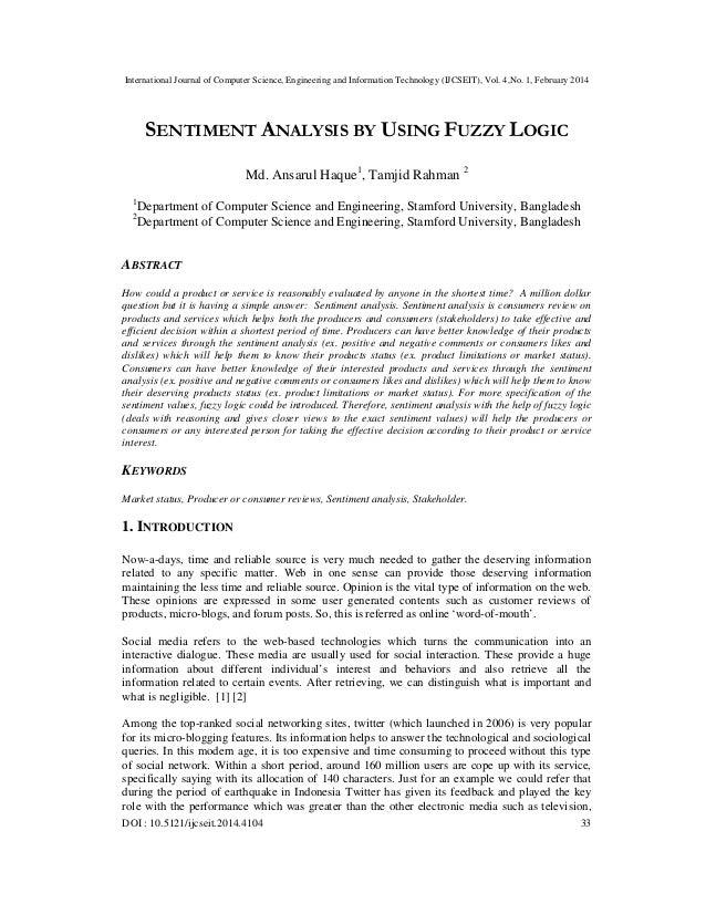 Sentiment analysis by using fuzzy logic