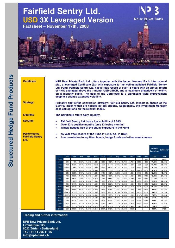 Fairfield Sentry Ltd.                                  USD 3X Leveraged Version                                  Factsheet...