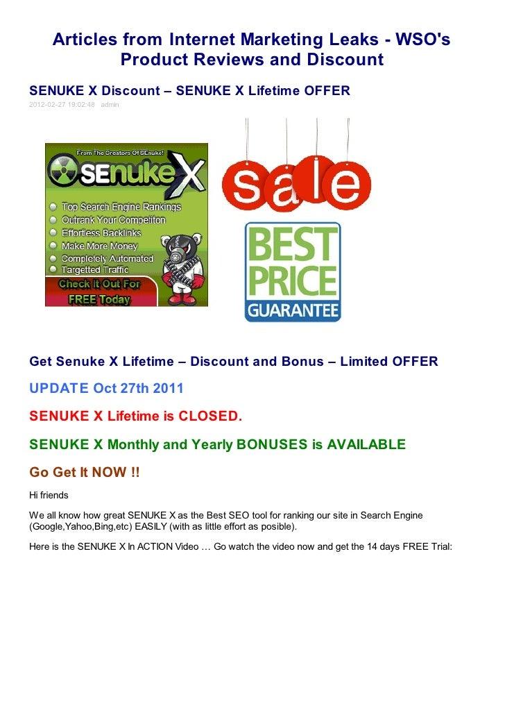 SEnuke X Discount