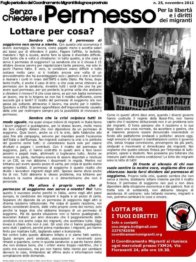 Foglio periodico del Coordinamento Migranti Bologna e provincia                                                           ...