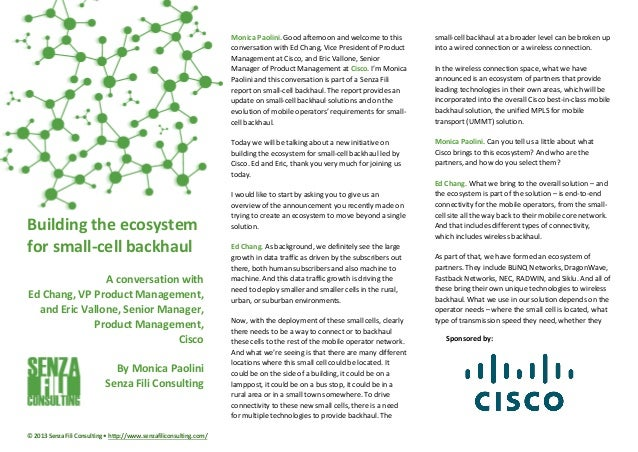 Building the Ecosystem from Small Cell Backhaul (Senza Fili Consulting and Cisco Interview)