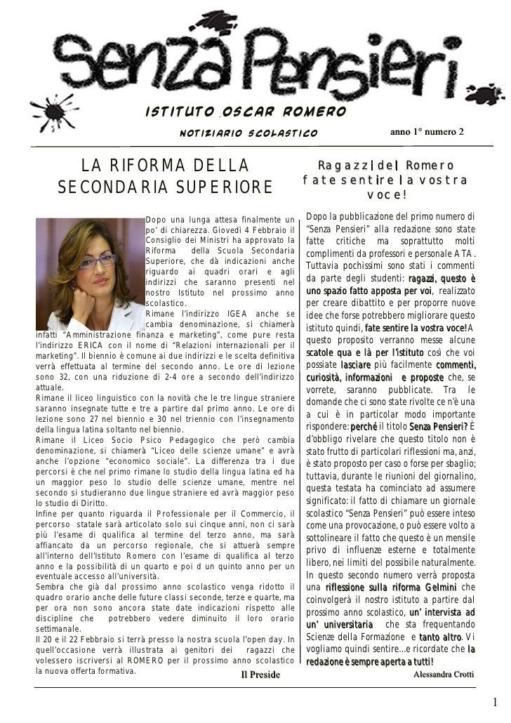 ISTITUTO OSCAR ROMERO                                        NOTIZIARIO SCOLASTICO                                        ...
