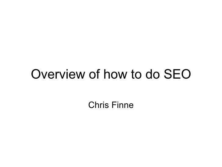 Overview of how to do SEO