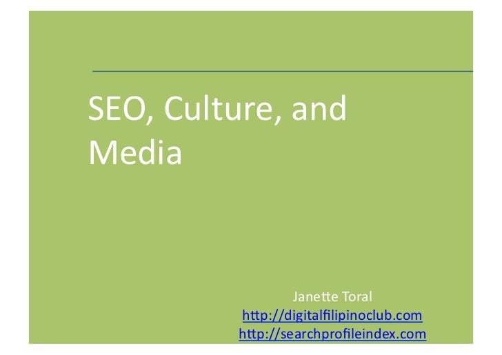 SEO, Culture, and Media