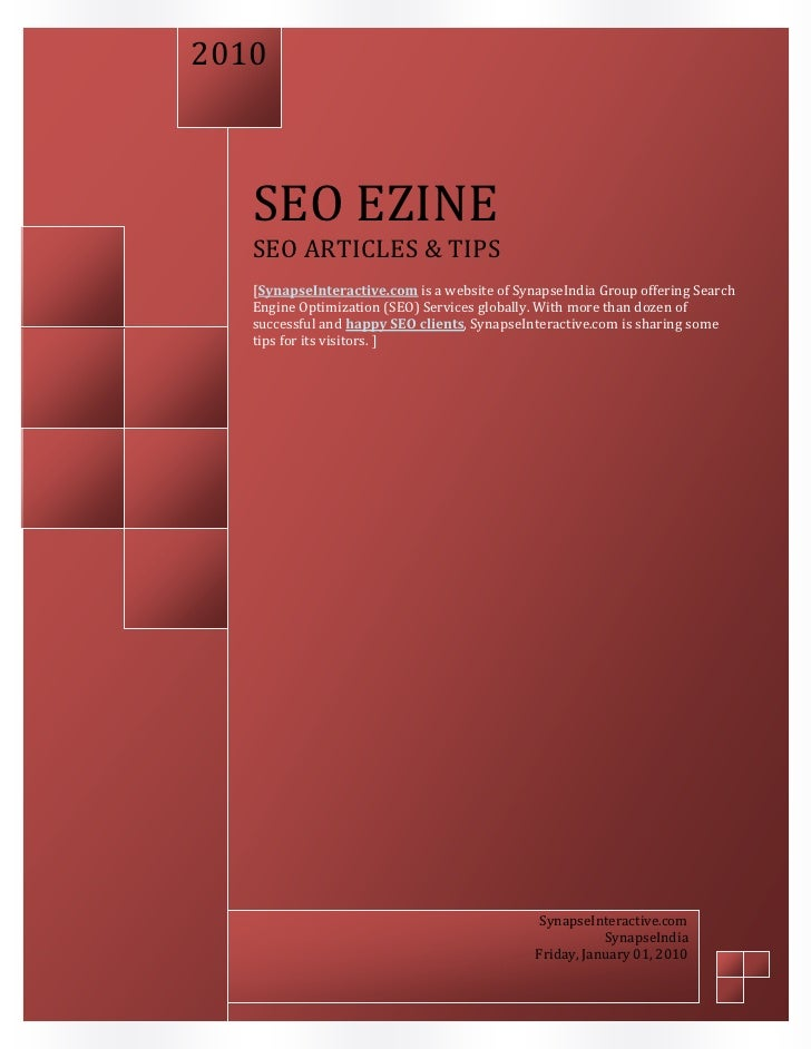 2009       SEO EZINE    SEO ARTICLES & TIPS    [SynapseInteractive.com is a website of Synapse India Group offering Search...