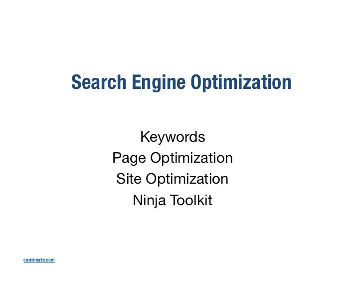 Search Engine Optimization                              Keywords                          Page Optimization               ...