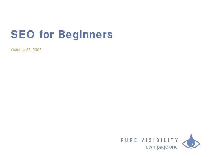 SEO Group Presentation 10/26/06
