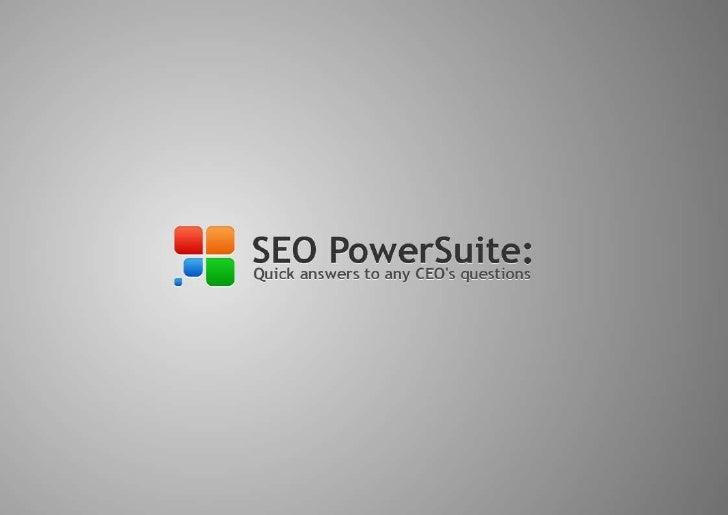 SEO PowerSuite: SEO for CEO's made easy