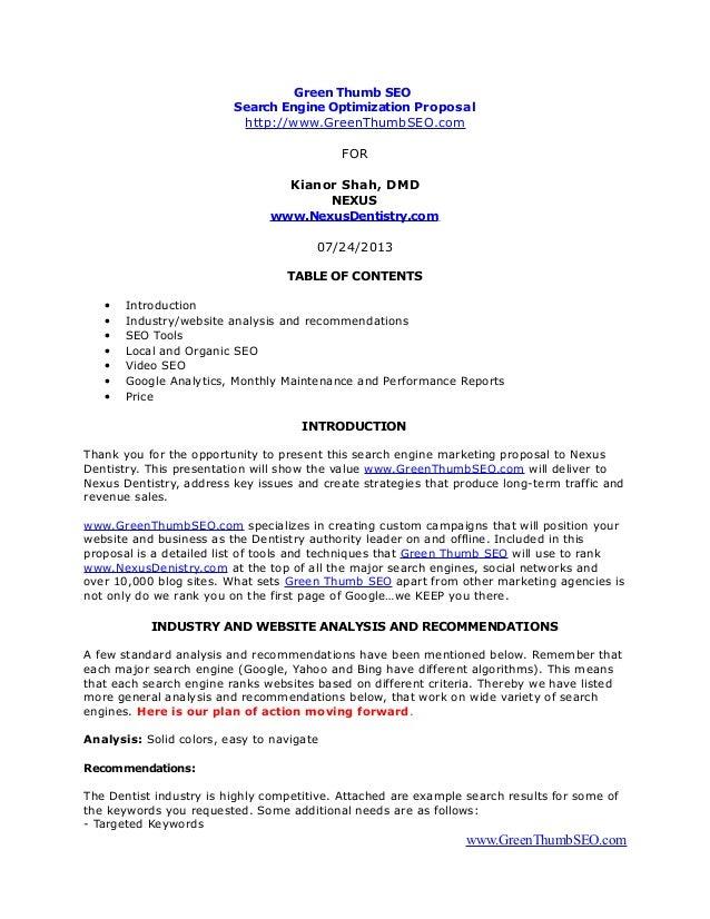 green thumb seo proposal for nexu dentistry