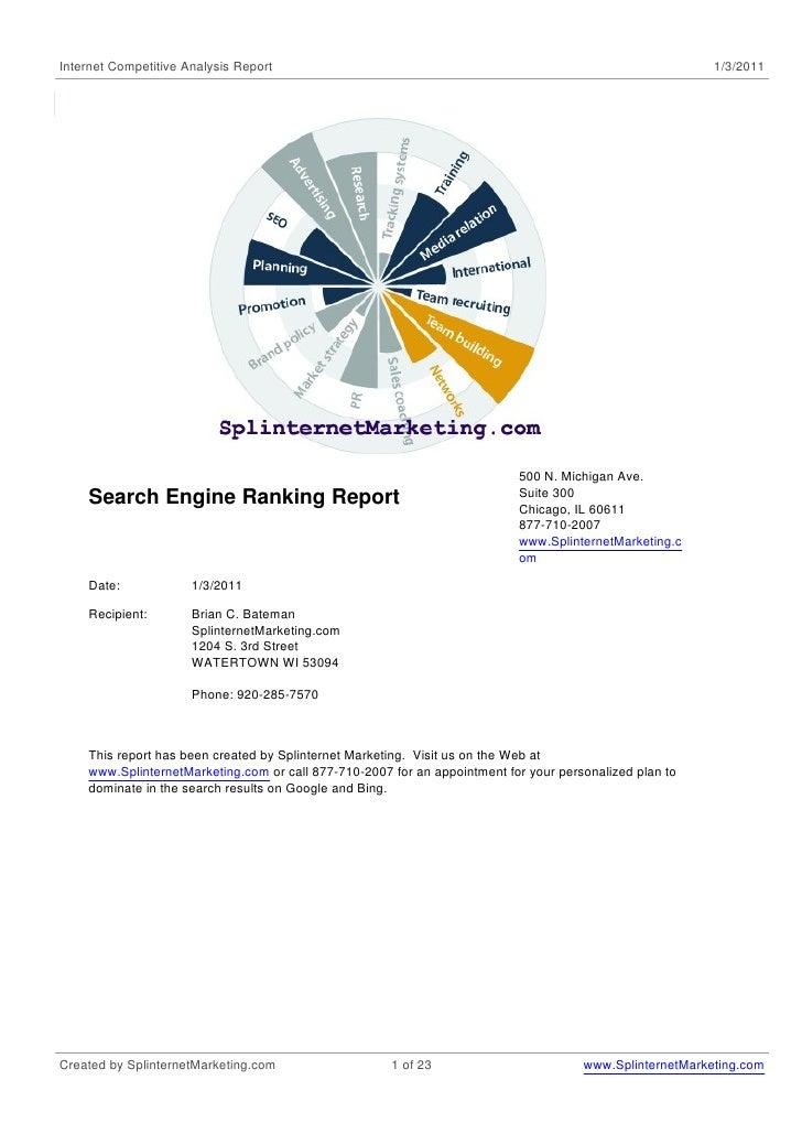 Seo search engine rankings for splinternet marketing-1-3-2011-compared