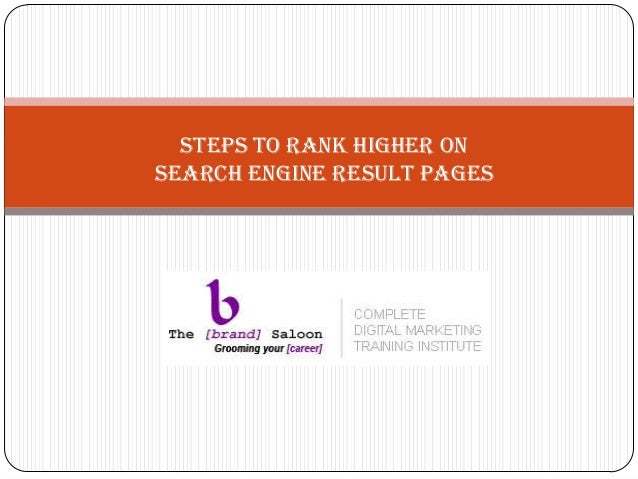 Seo   steps for higher search engine rankings