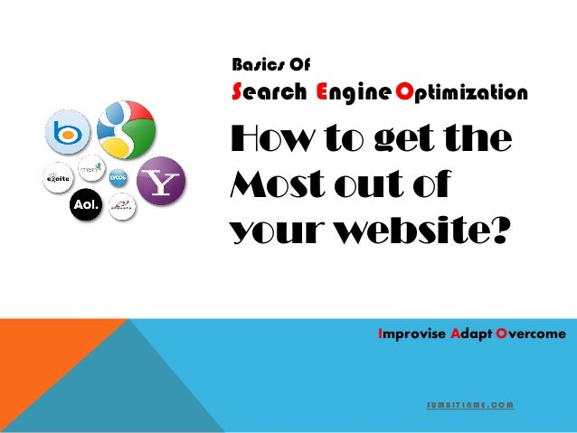 S U M B I T I N M E . C O M Search EngineOptimization Basics Of How to get the Most out of your website? Improvise Adapt O...