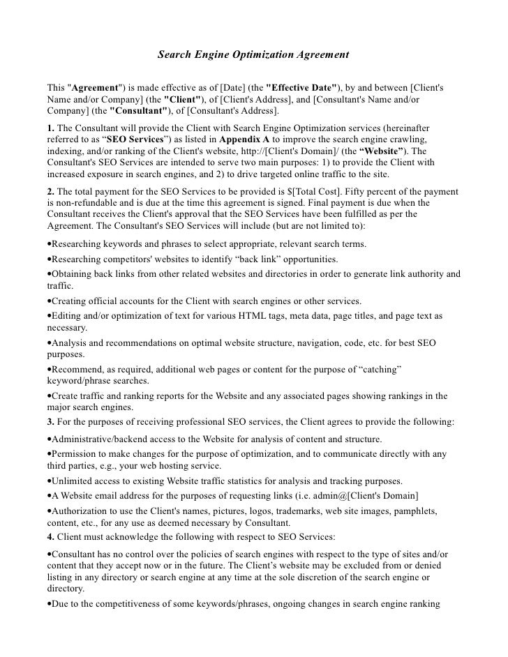 Seo Agreement Template