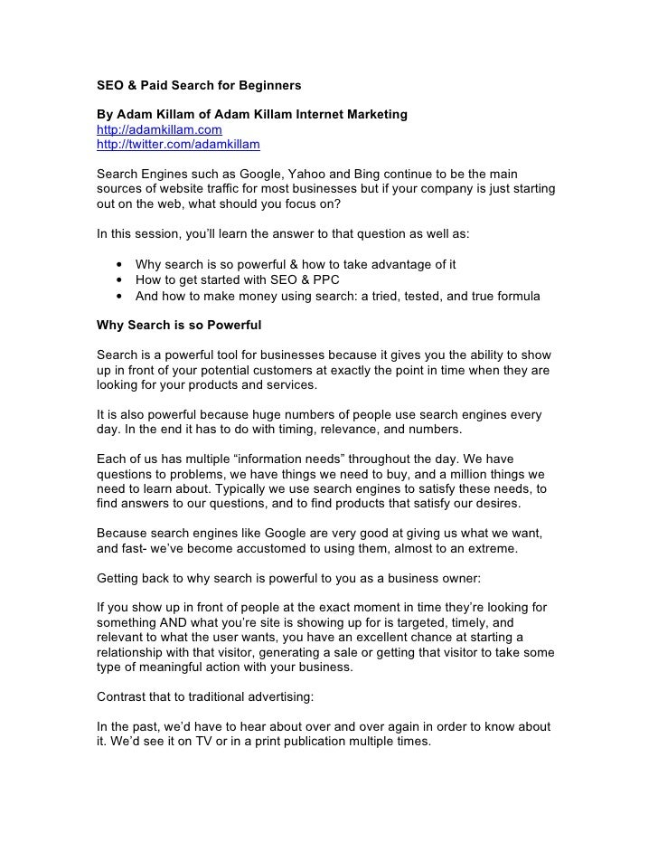 SEO & Paid Search for Beginners  By Adam Killam of Adam Killam Internet Marketing http://adamkillam.com http://twitter.com...