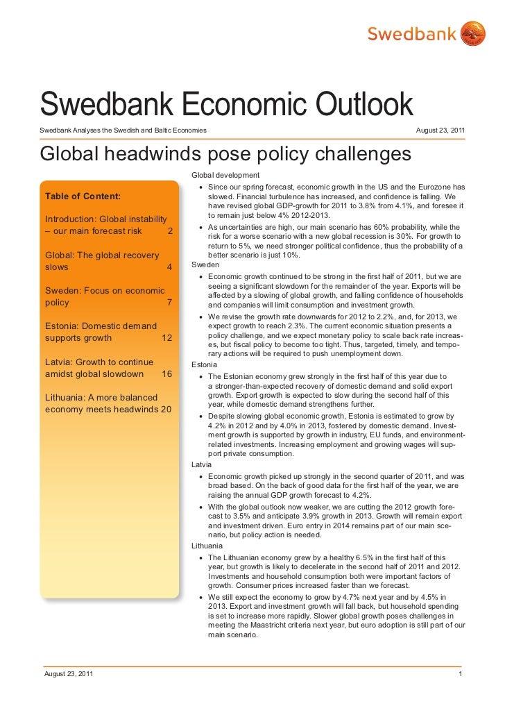Swedbank Economic Outlook August 2011
