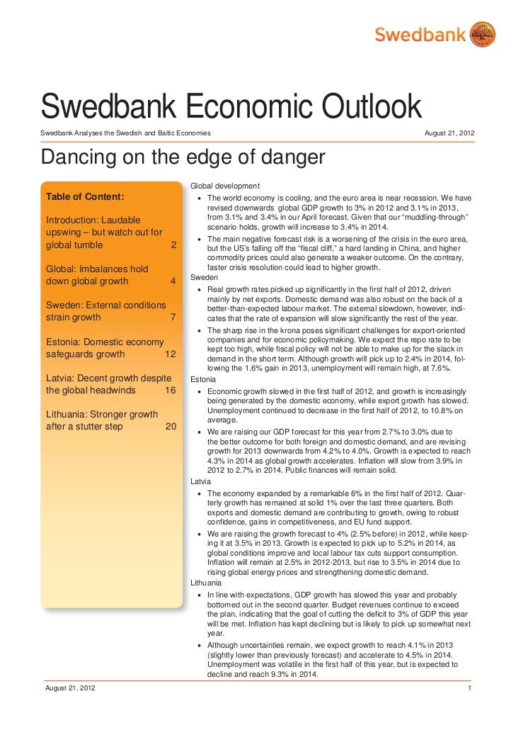 Swedbank Economic Outlook - August 2012