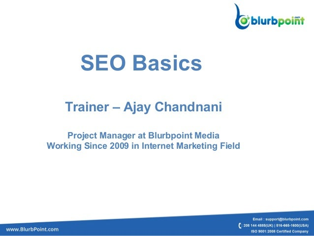 SEO BasicsTrainer – Ajay ChandnaniProject Manager at Blurbpoint MediaWorking Since 2009 in Internet Marketing Field