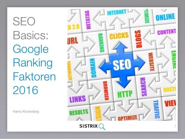 SEO Basics: Google Ranking Faktoren 2015 Hanns Kronenberg 1