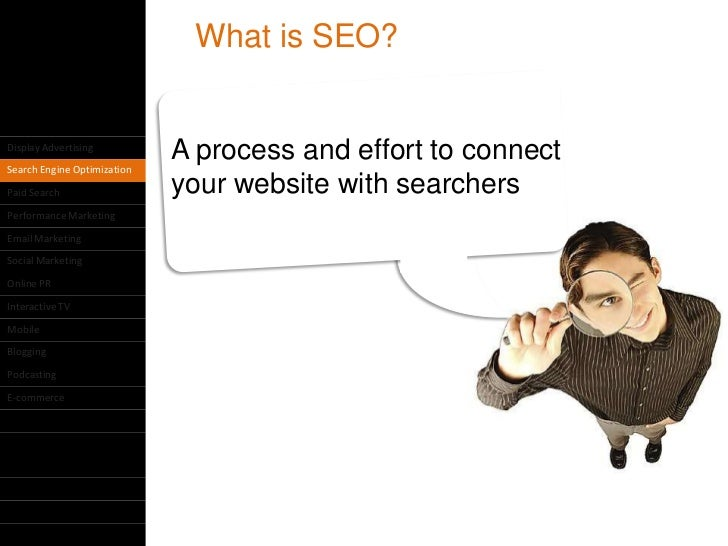 What is SEO?Display Advertising                             A process and effort to connectSearch Engine OptimizationPaid ...
