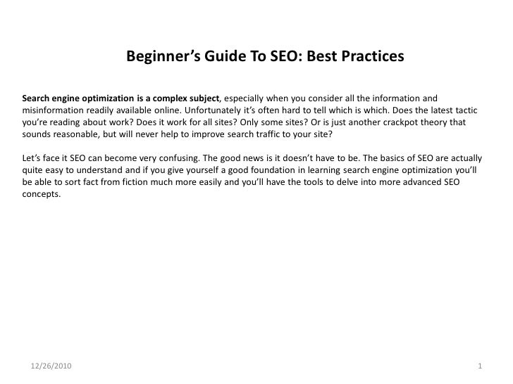 Beginner's Guide To SEO: Best PracticesSearch engine optimization is a complex subject, especially when you consider all t...