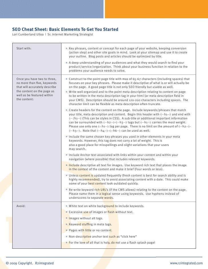 SEO Cheat Sheet: Basic Elements To Get You Started Lori Cumberland Ulloa | Sr. Internet Marketing Strategist       Start w...
