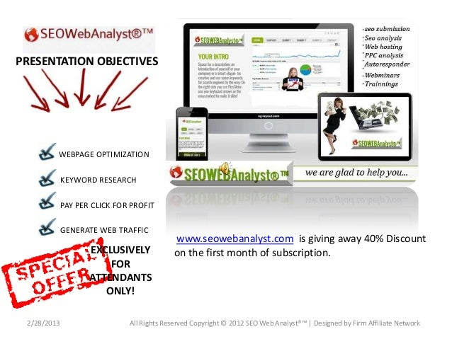 PRESENTATION OBJECTIVES         WEBPAGE OPTIMIZATION             KEYWORD RESEARCH             PAY PER CLICK FOR PROFIT    ...