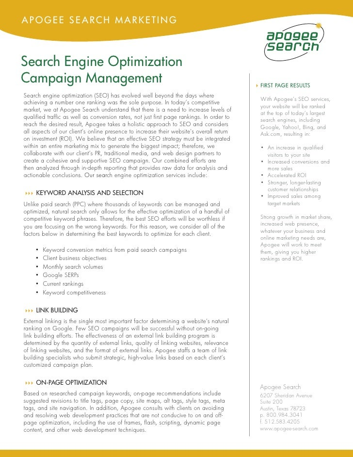 APOGEE SEARCH MARKETING    Search Engine Optimization Campaign Management                                                 ...