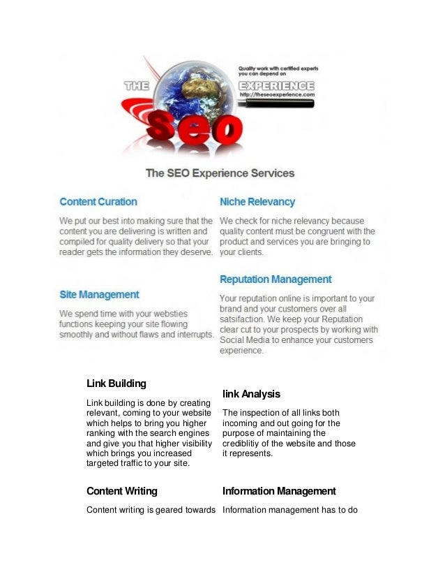 Seo experience overview