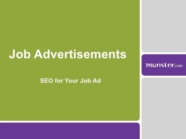 Job Advertisements  SEO for Your Job Ad